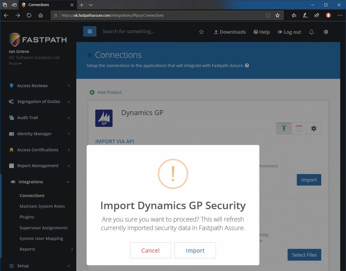 Import Dynamics GP Security
