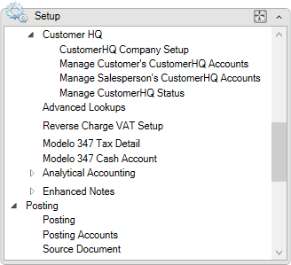 CustomerHQ setup menu