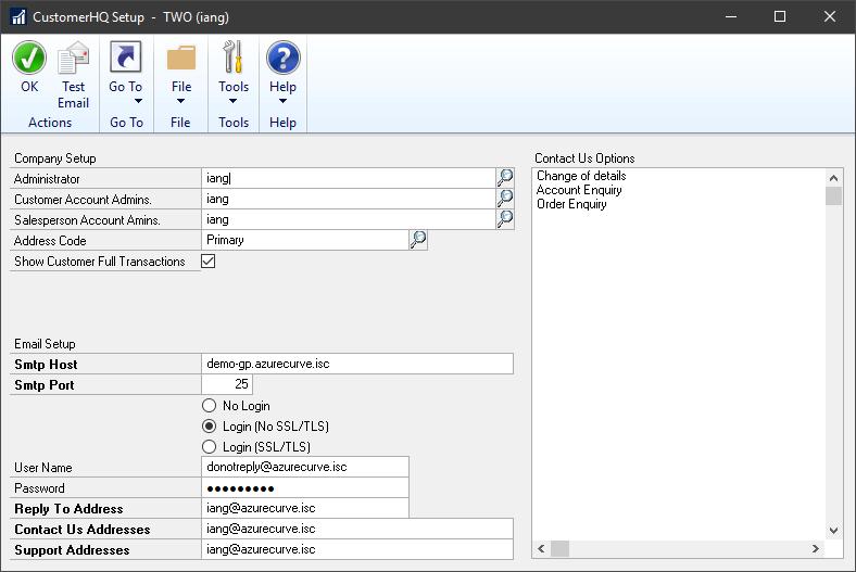 CustomerHQ Setup window
