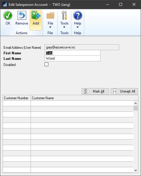 Edit Salesperson Account window