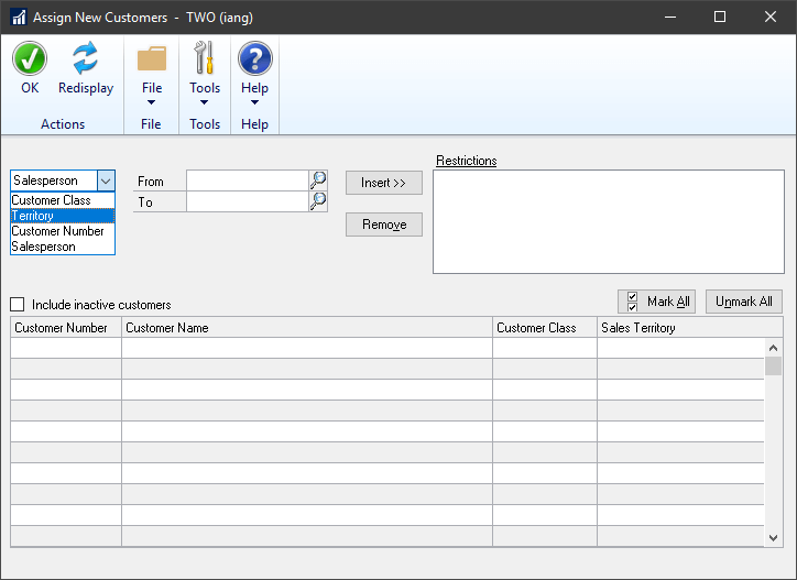 Edit Salesperson Account with customers displayed and marked