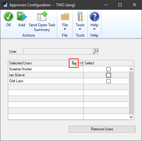 Select user and click delegate