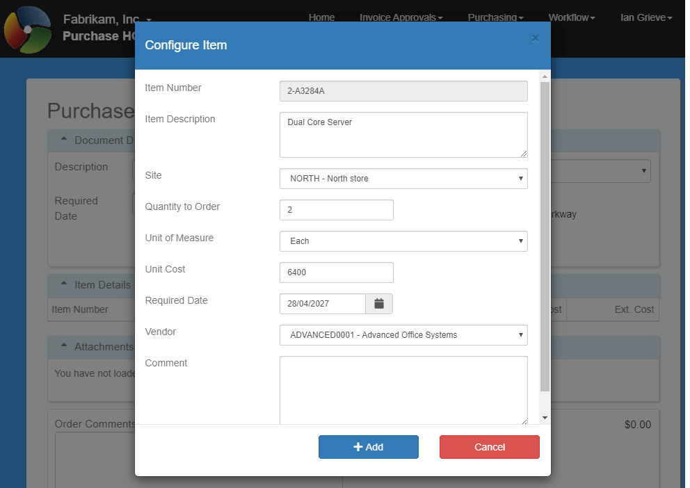 Configure Item