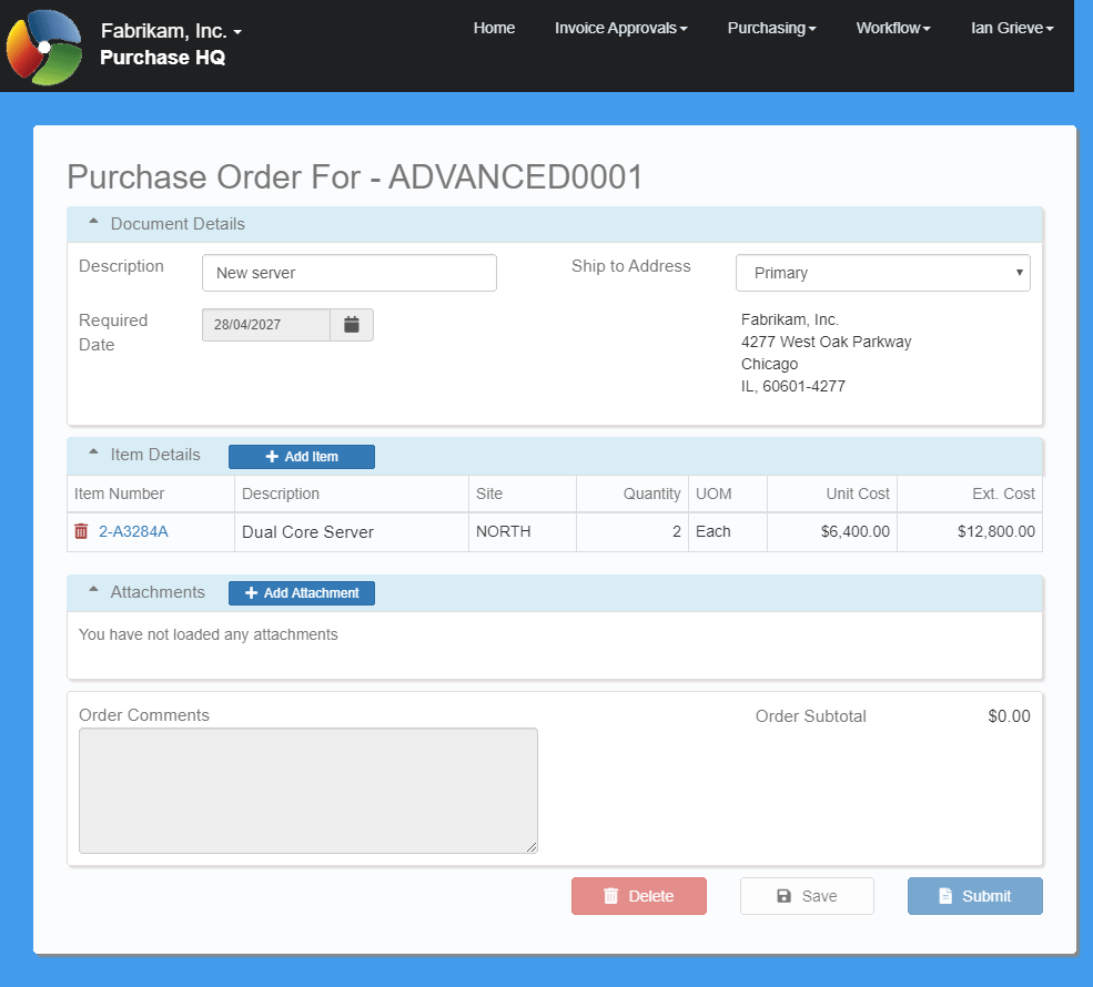 Purchase Order Entry with complete purchase order
