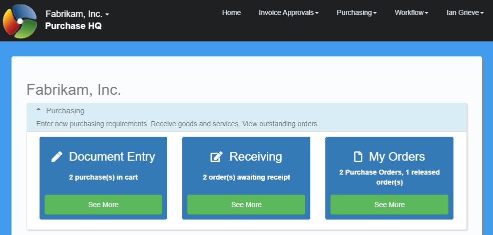 Home page showing Document Entry tile