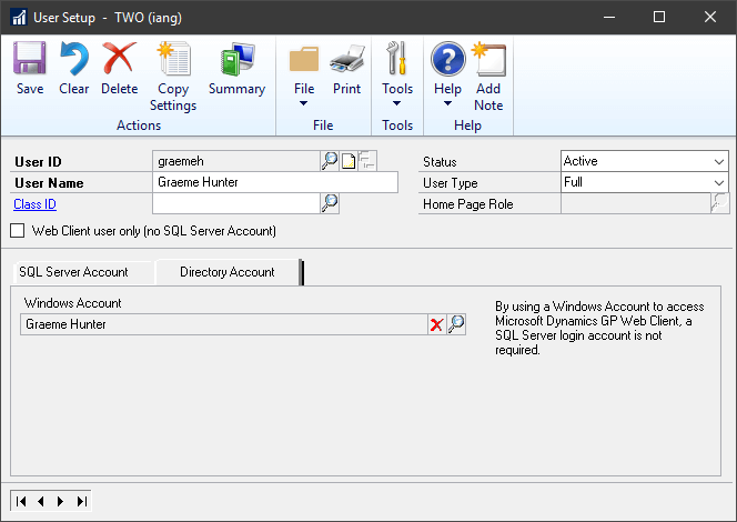 Adding Windows Account to User Setup