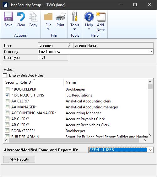 Configure user Security