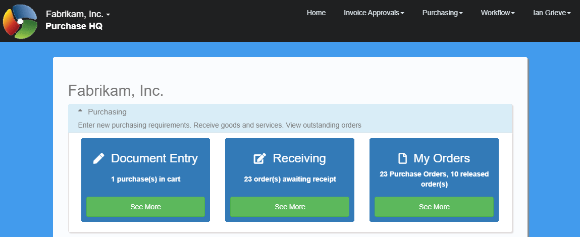 PurchaseHQ home page showing Receiving tile