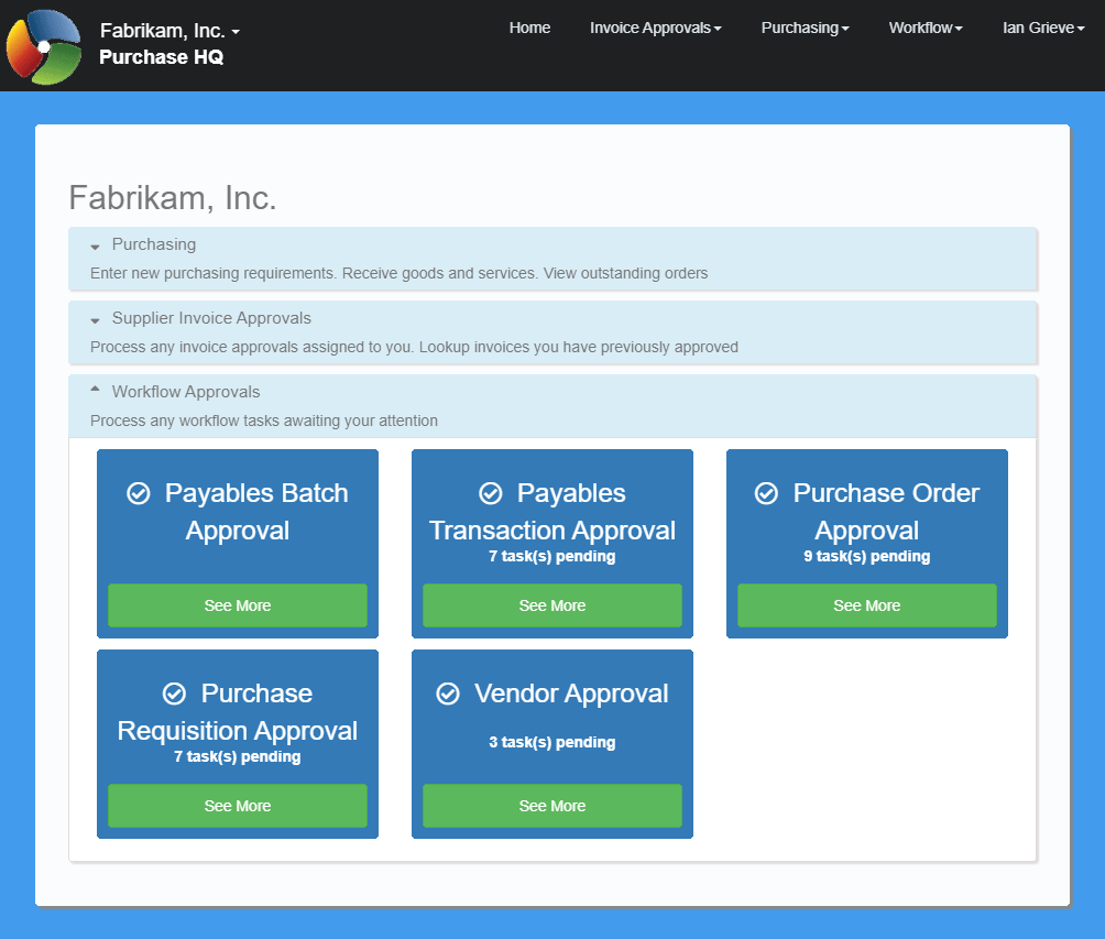 Workflow Approvals section of the PurchaseHQ home page