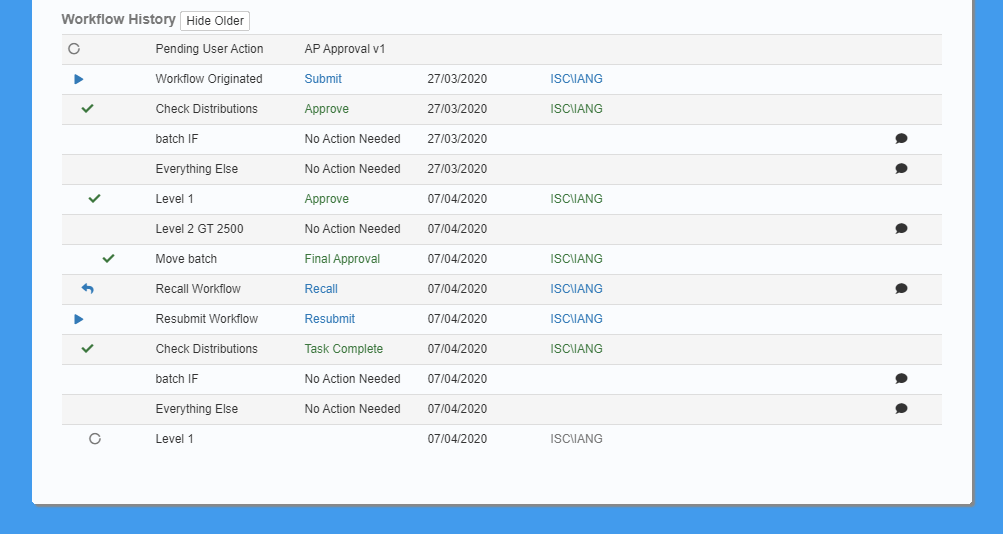 Showing older workflow history