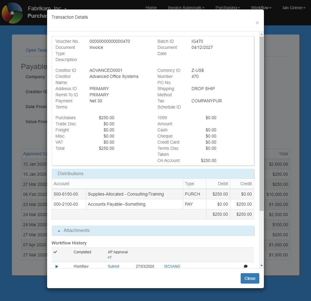 Transaction details