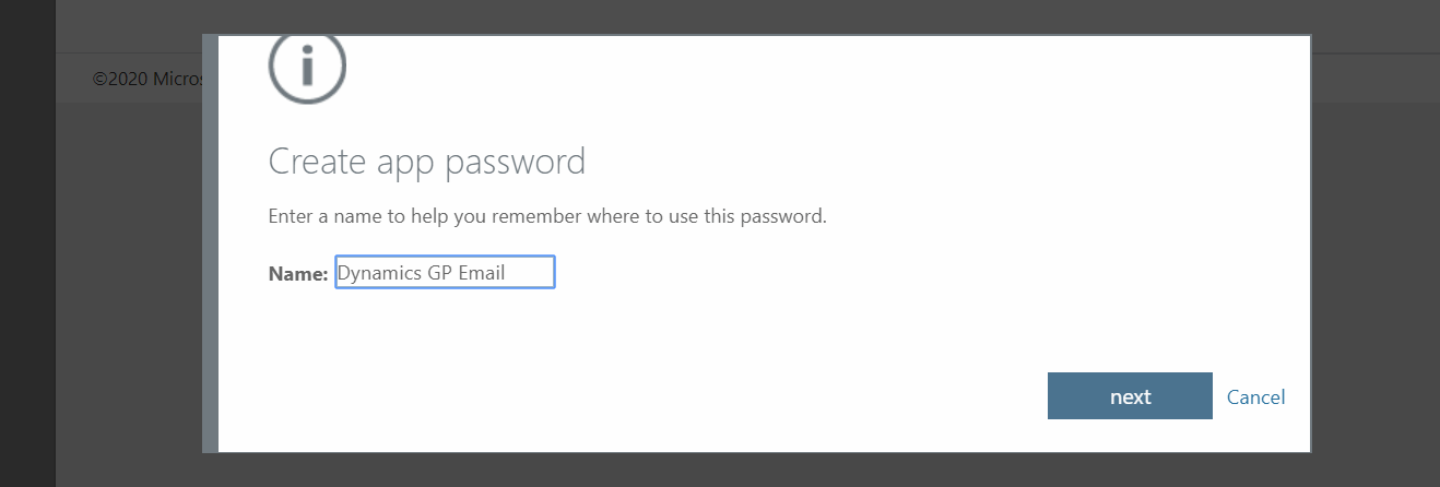 Give app password a name