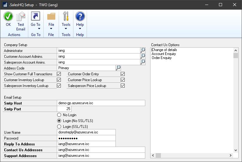 SalesHQ Setup window