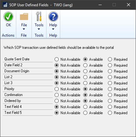SOP User Defined Fields