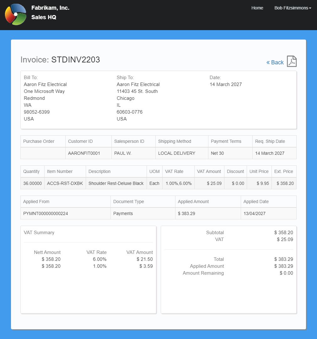 Invoice detail