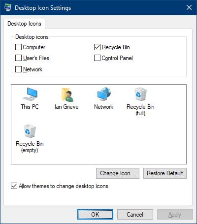 Desktop Icon Settings applet