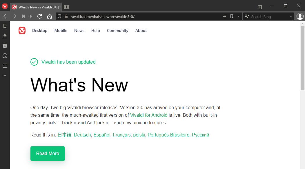 Vivaldi browser version 3 released