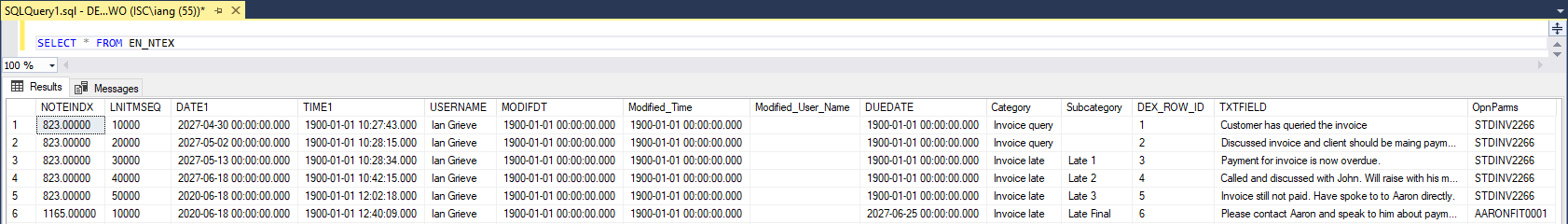 SQL Server Management Studio showing the content of the EN_NTEX table