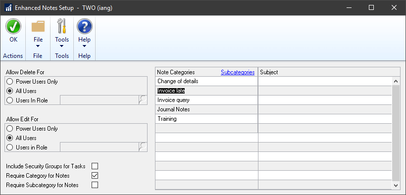 Enhanced Notes Setup showing the categories