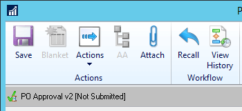 PO Entry window showing workflow status bar and action pane