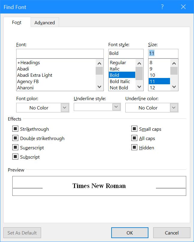 Find Font window
