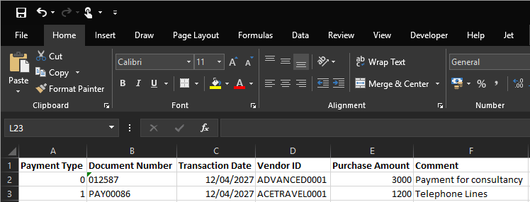 Excel sample file for the payment import