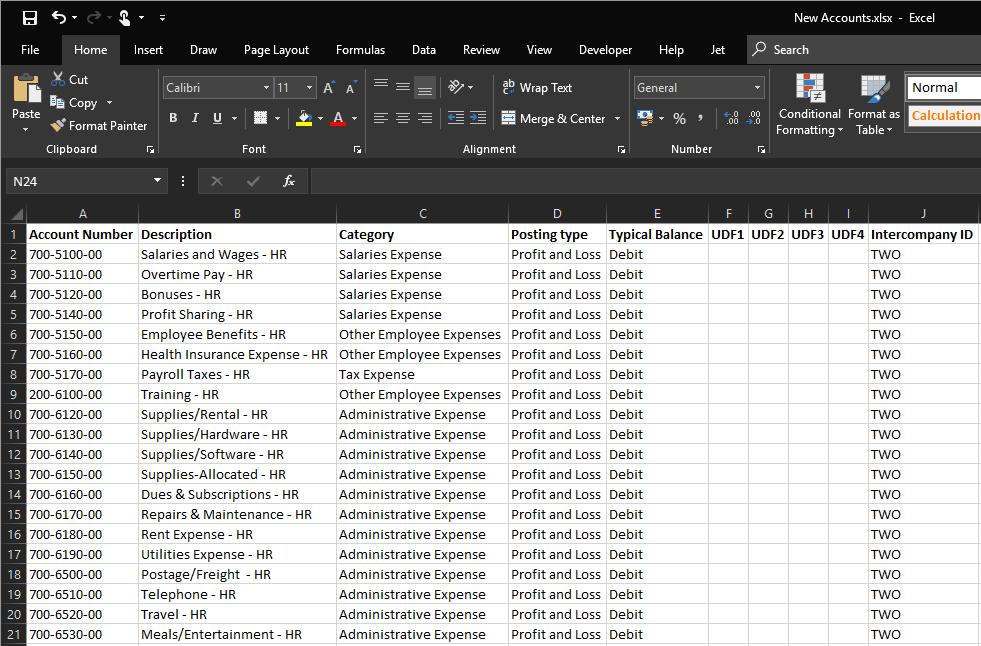 GL Code import file format