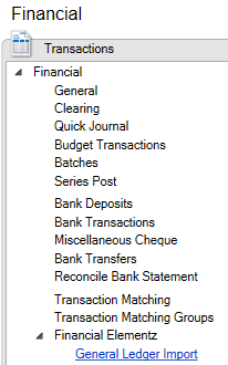 Financial area page showing Transaction menu