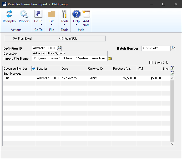 Manual Payments Import window showing preview of data