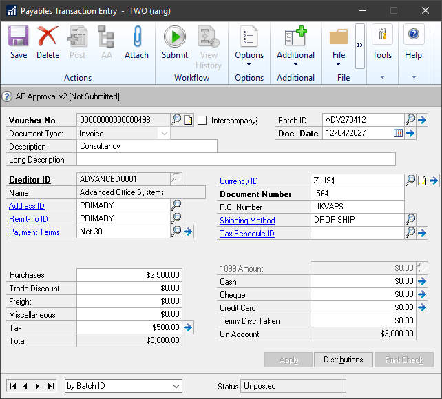 Invoice in Payables Transaction Entry