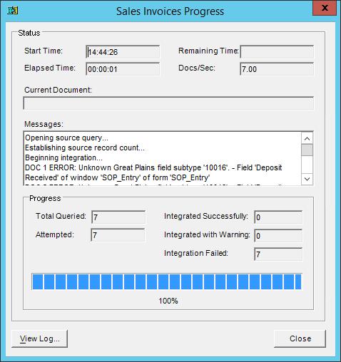 Integration manager error log