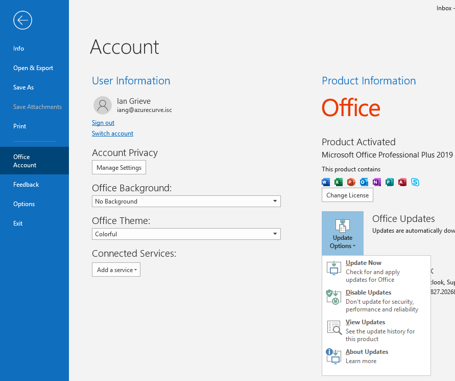 Stop Microsoft Office automatically updating