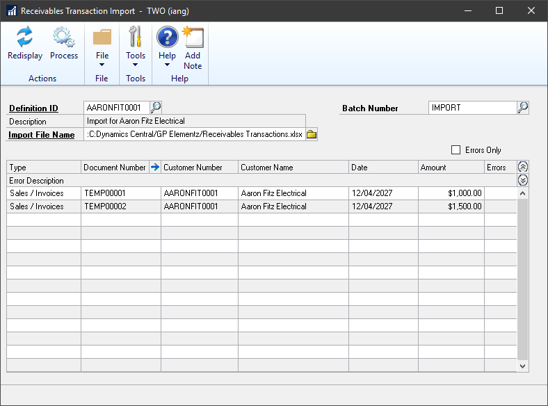 Receivables Transaction Import window showing the invoice to be created