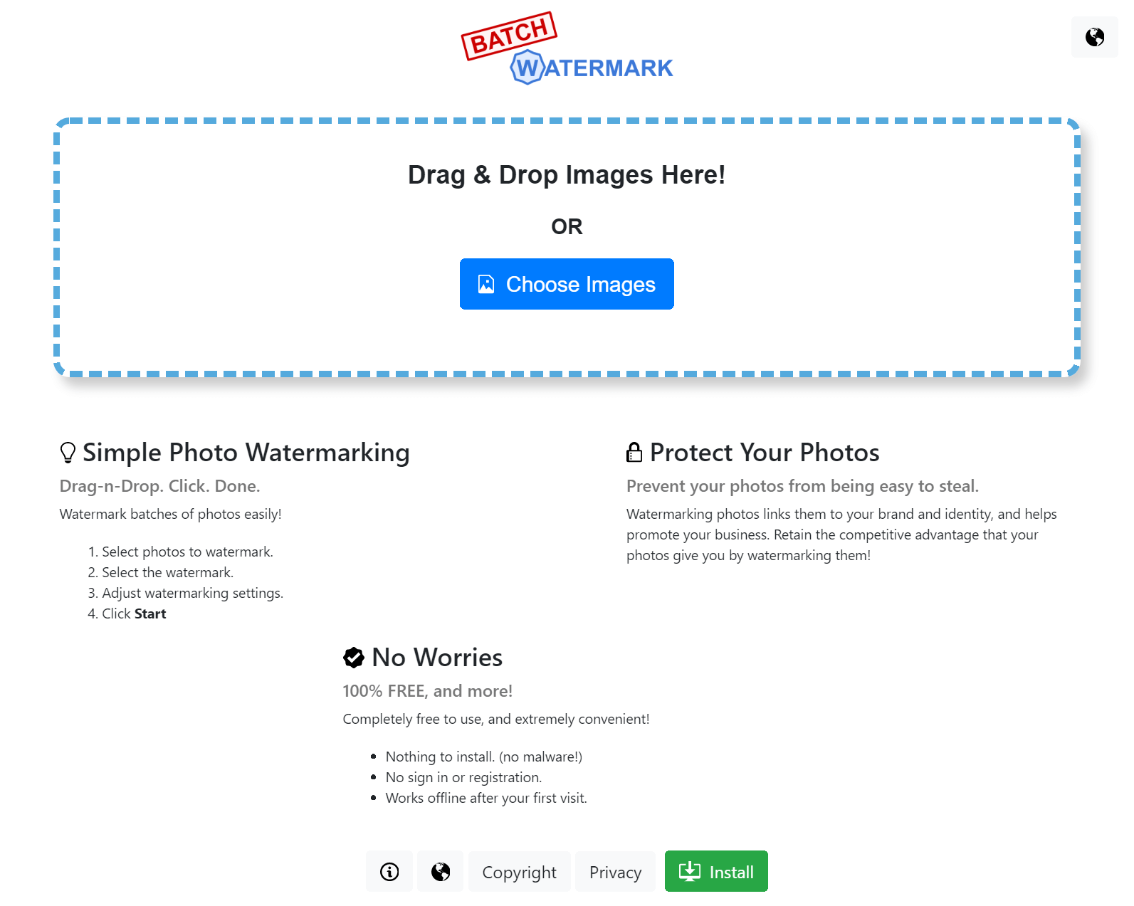 Bulk watermark images
