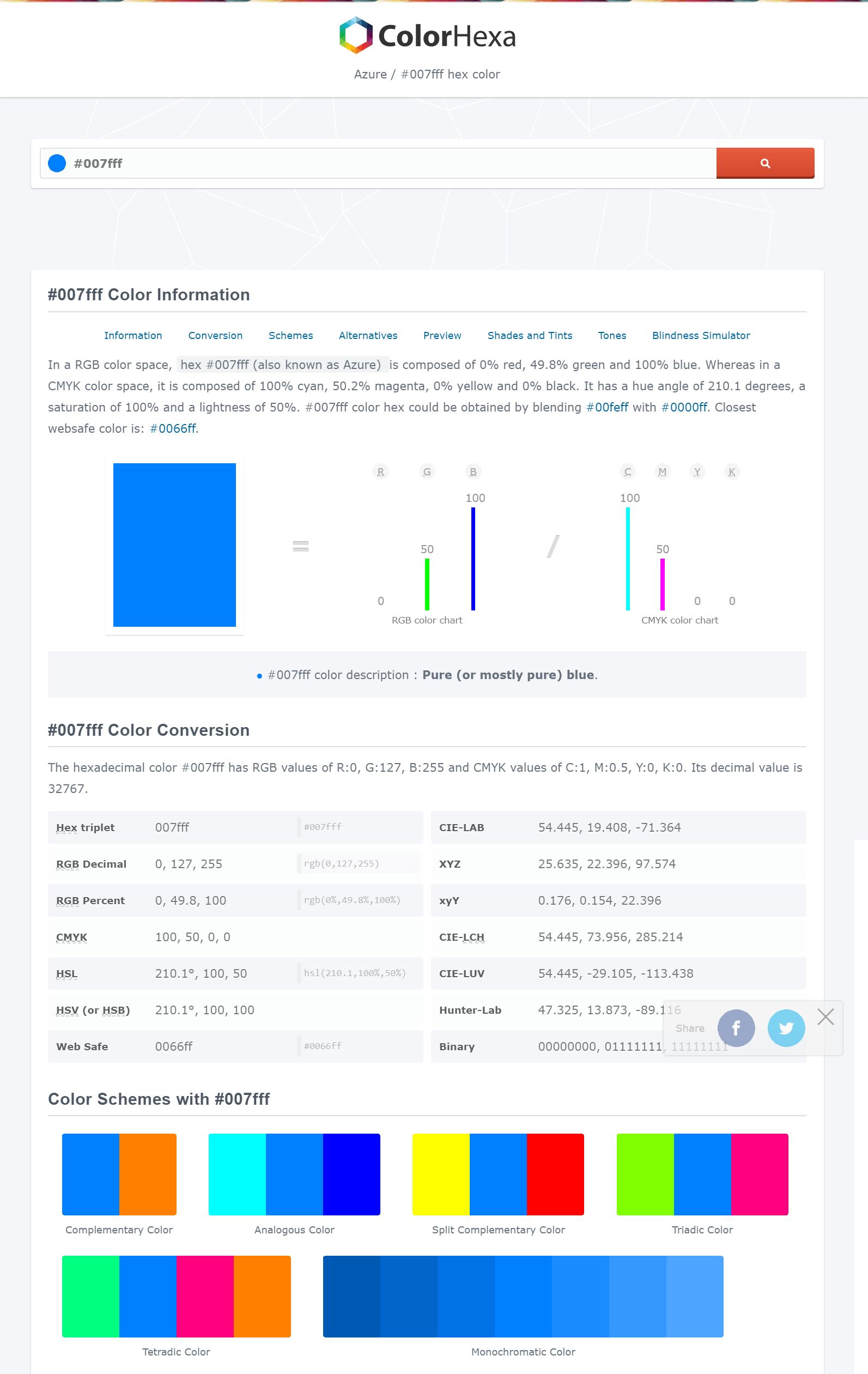 Color Hexa website