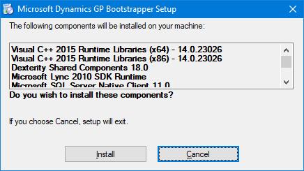 Microsoft Dynamics GP Bootstrapper Setup