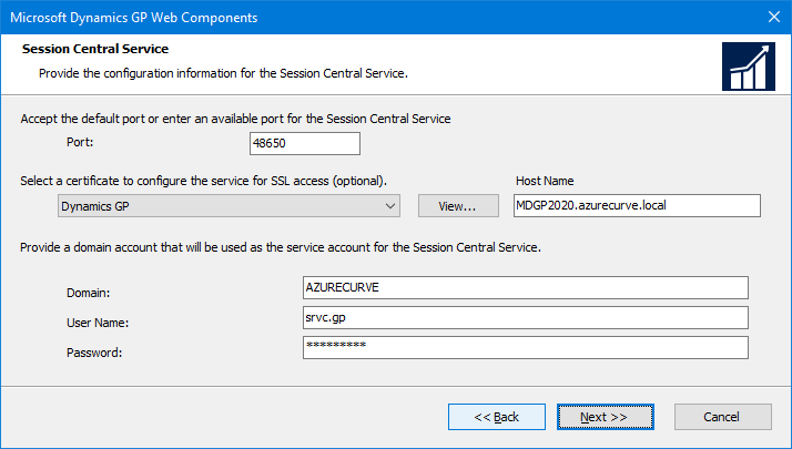 Microsoft Dynamics GP Web Components: Session Central Service