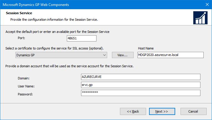 Microsoft Dynamics GP Web Components: Session Service