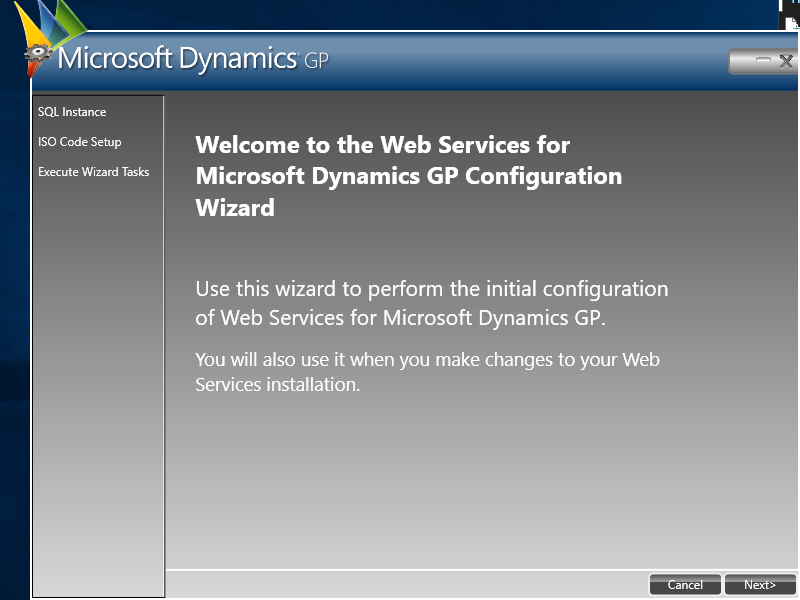 Welcome to the Web Services for Microsoft Dynamics GP Configuration Wizard