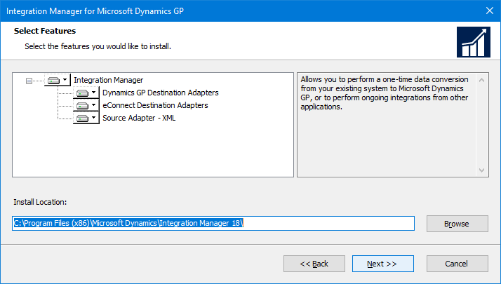 Integration Manager for Microsoft Dynamics GP: Select Features