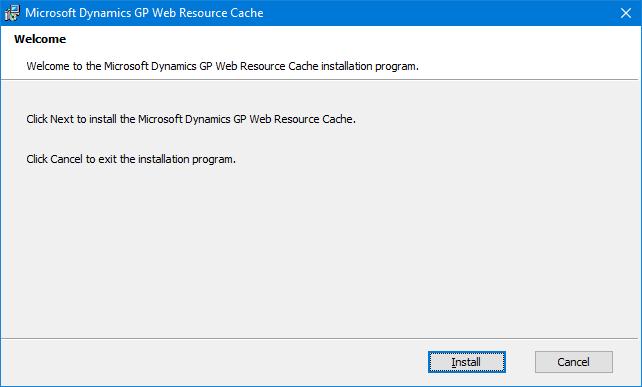 Microsoft Dynamics GP Web Resource Cache: Welcome