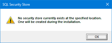 SQL Security Store warning