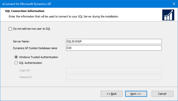 eConnect for Microsoft Dynamics GP: SQL Connection Information