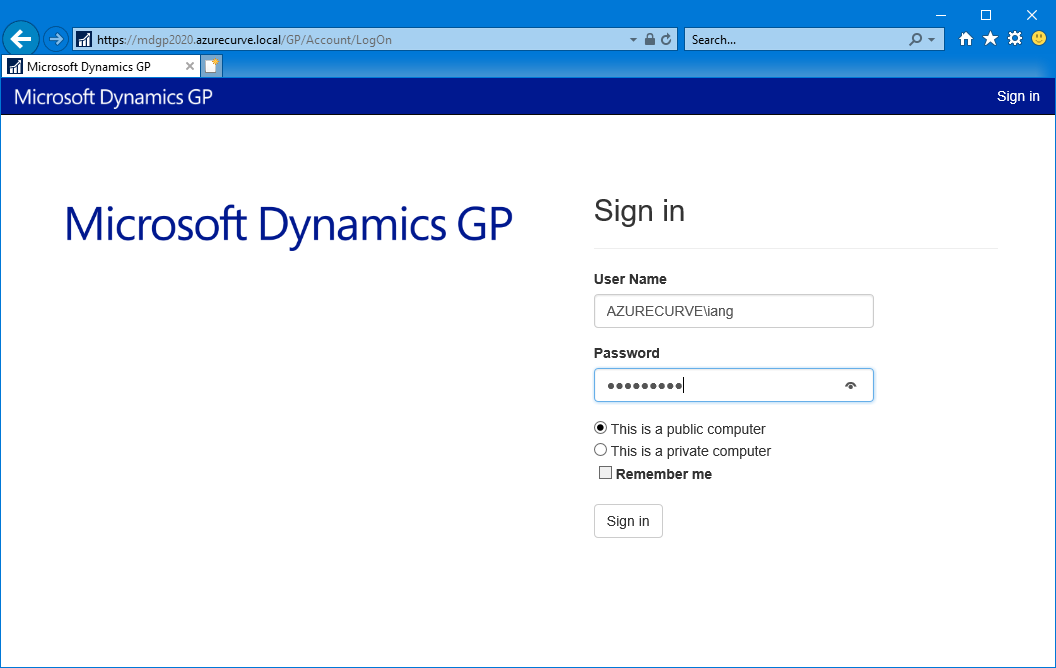 Microsoft Dynamics GP Sign In page