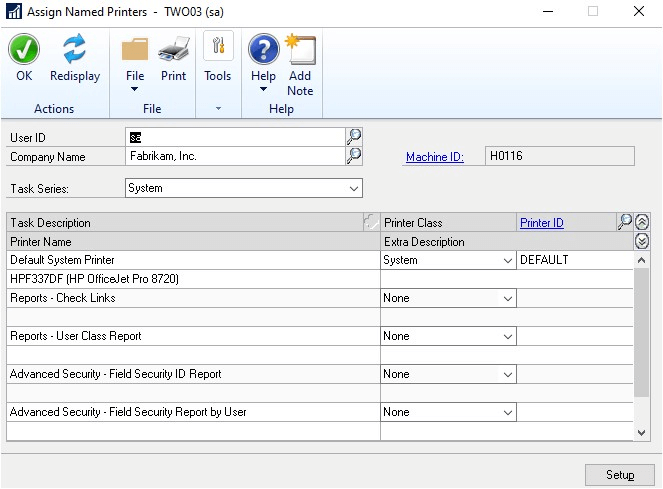Assign Named Printers