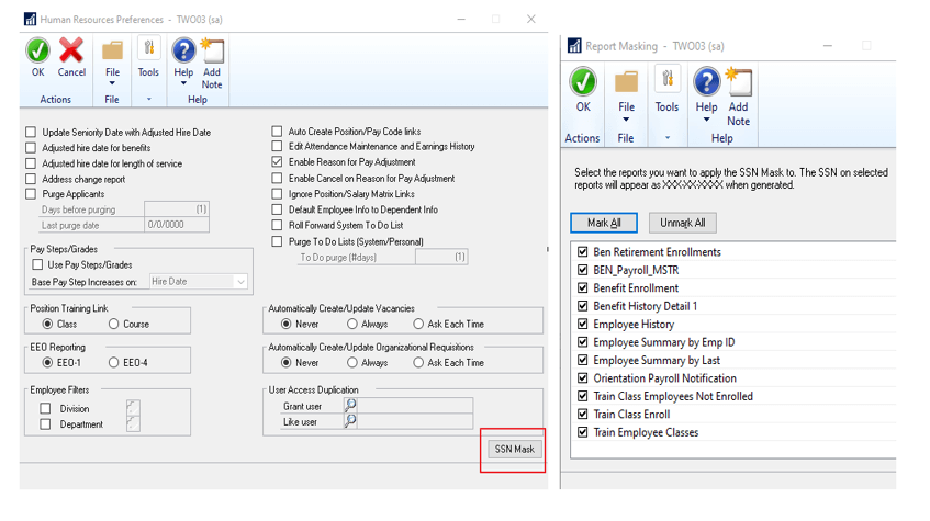 Human Resources Preferences and Report Masking