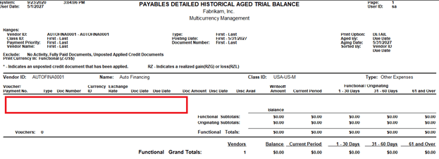 Payables Detailed Historical Aged Trial Balance