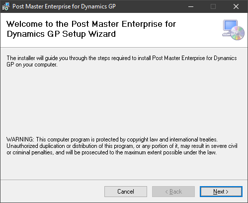 Welcome to the Post Master Enterprise for Dynamics GP Setup Wizard