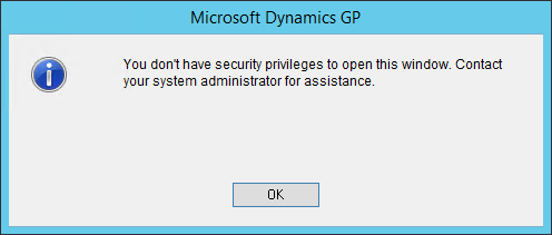Microsoft Dynamics GP seurity error