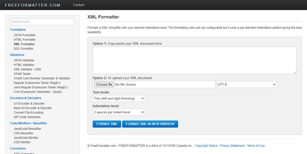 Free Online XML Formatter - freeformater.com